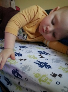 Loves his new robots sheets!