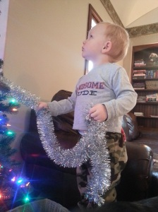 Battle Christmas Tree. It was close -- mom has had to intervene a couple of times already.