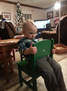 Christmas dinner at Aunt Yvonne's. They had the coolest kid furniture!