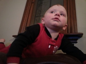 His dubious face. I see this more often than I ought to, out of a two year old.