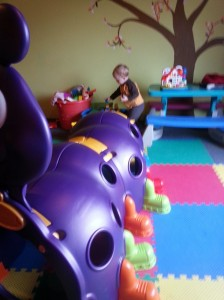 Couldn't get him to investigate the giant purple caterpillar climber-thing, though.