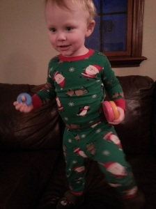 Busting out of this year's jammies already. Got to use them while we can!