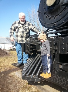 He LOVED the train we found in a park in Cloquet (just outside the coffeeshop we like).